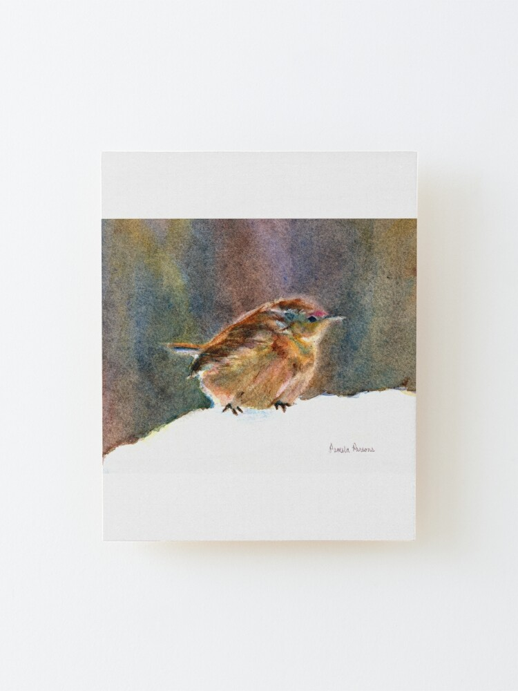 Alternate view of Mother Wren, from Watercolor Painting by Pamela Parsons Mounted Print