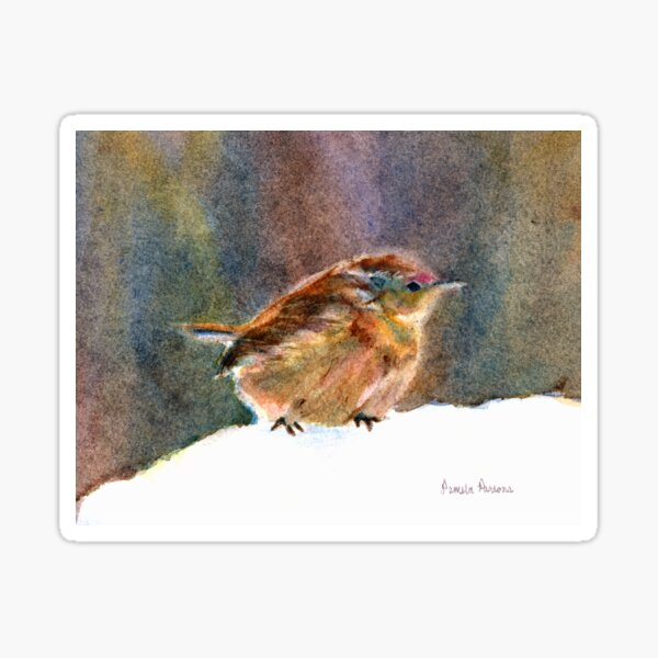 Mother Wren, from Watercolor Painting by Pamela Parsons Sticker
