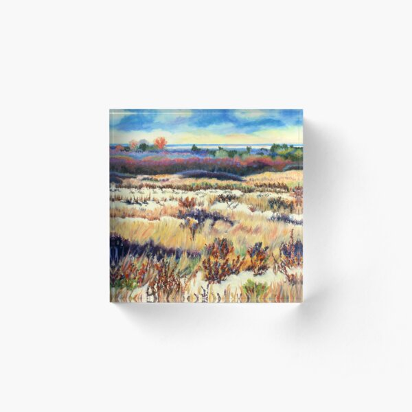 Winter Dunes, Long Beach Island, New Jersey, Jersey Shore, from impressionist oil painting by Pamela Parsons Acrylic Block