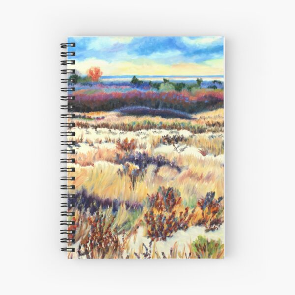 Winter Dunes, Long Beach Island, New Jersey, Jersey Shore, from impressionist oil painting by Pamela Parsons Spiral Notebook
