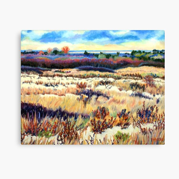 Winter Dunes, Long Beach Island, New Jersey, Jersey Shore, from impressionist oil painting by Pamela Parsons Canvas Print