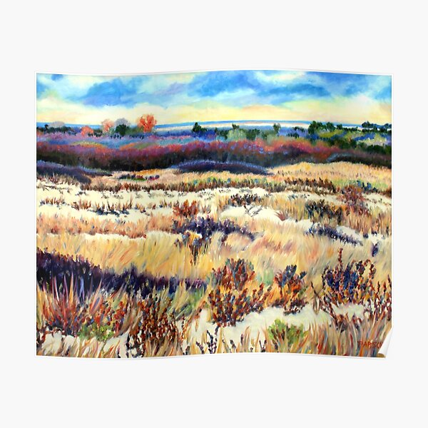 Winter Dunes, Long Beach Island, New Jersey, Jersey Shore, from impressionist oil painting by Pamela Parsons Poster