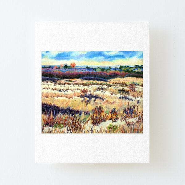 Winter Dunes, Long Beach Island, New Jersey, Jersey Shore, from impressionist oil painting by Pamela Parsons Canvas Mounted Print