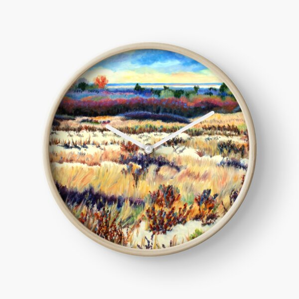 Winter Dunes, Long Beach Island, New Jersey, Jersey Shore, from impressionist oil painting by Pamela Parsons Clock