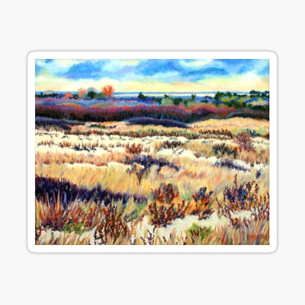 Winter Dunes, Long Beach Island, New Jersey, Jersey Shore, from impressionist oil painting by Pamela Parsons Sticker