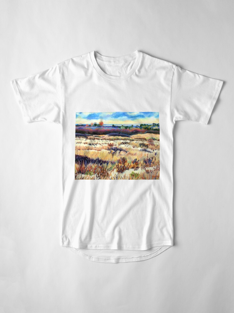 Alternate view of Winter Dunes, Long Beach Island, New Jersey, Jersey Shore, from impressionist oil painting by Pamela Parsons Long T-Shirt