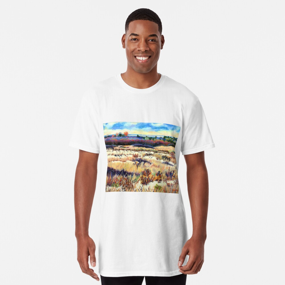Winter Dunes, Long Beach Island, New Jersey, Jersey Shore, from impressionist oil painting by Pamela Parsons Long T-Shirt
