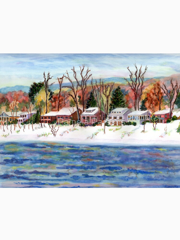 First Snow on the Delaware River, Bucks County, Pennsylvania, watercolor painting by Pamela Parsons by parsonsp