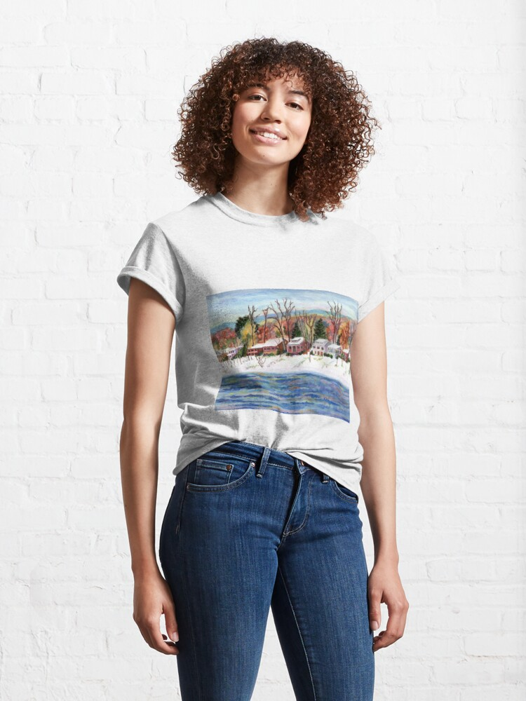Alternate view of First Snow on the Delaware River, Bucks County, Pennsylvania, watercolor painting by Pamela Parsons Classic T-Shirt