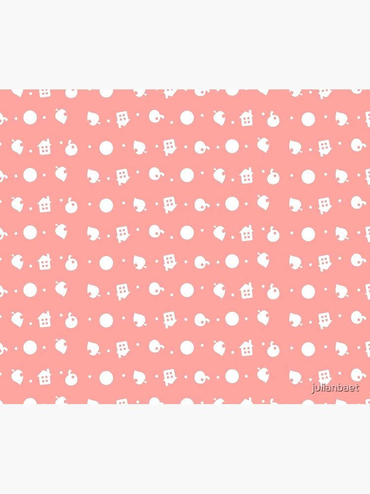 Animal Crossing White Repeating Pattern Pink Background Duvet