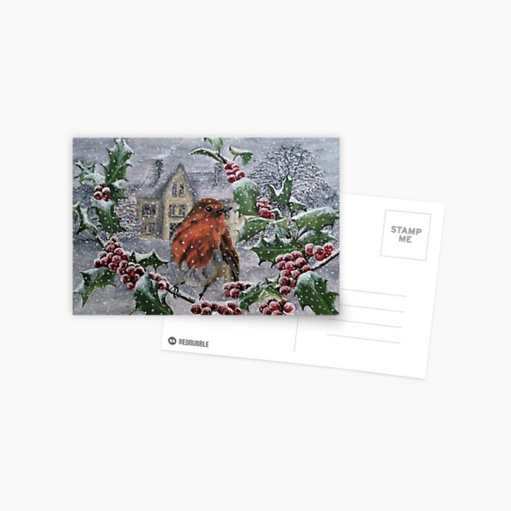 Robin in Snow - Postcard Postcard