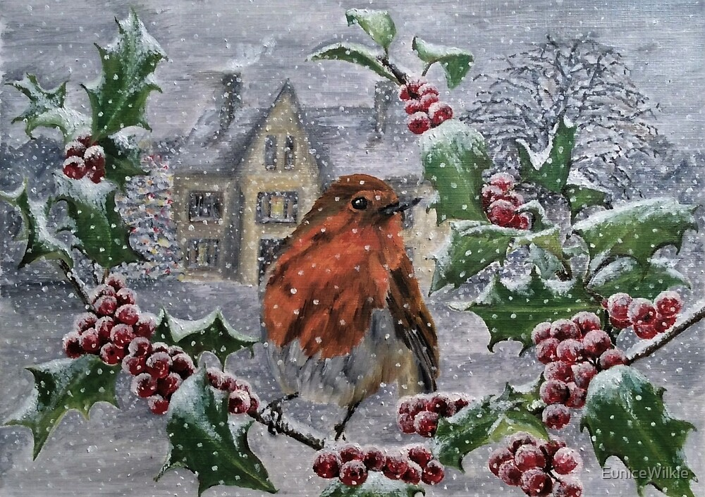 Robin in Snow - Coasters & Blocks by EuniceWilkie