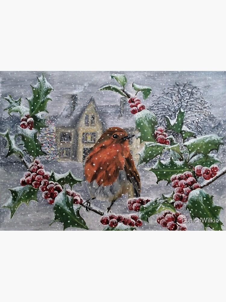 Robin in Snow - Wall Art by EuniceWilkie