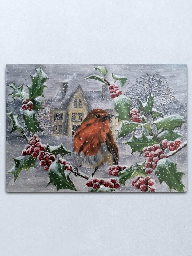 Alternate view of Robin in Snow - Wall Art Metal Print