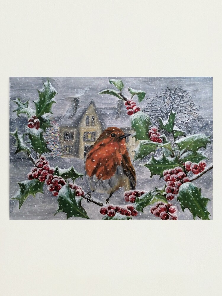 Alternate view of Robin in Snow - Wall Art Photographic Print