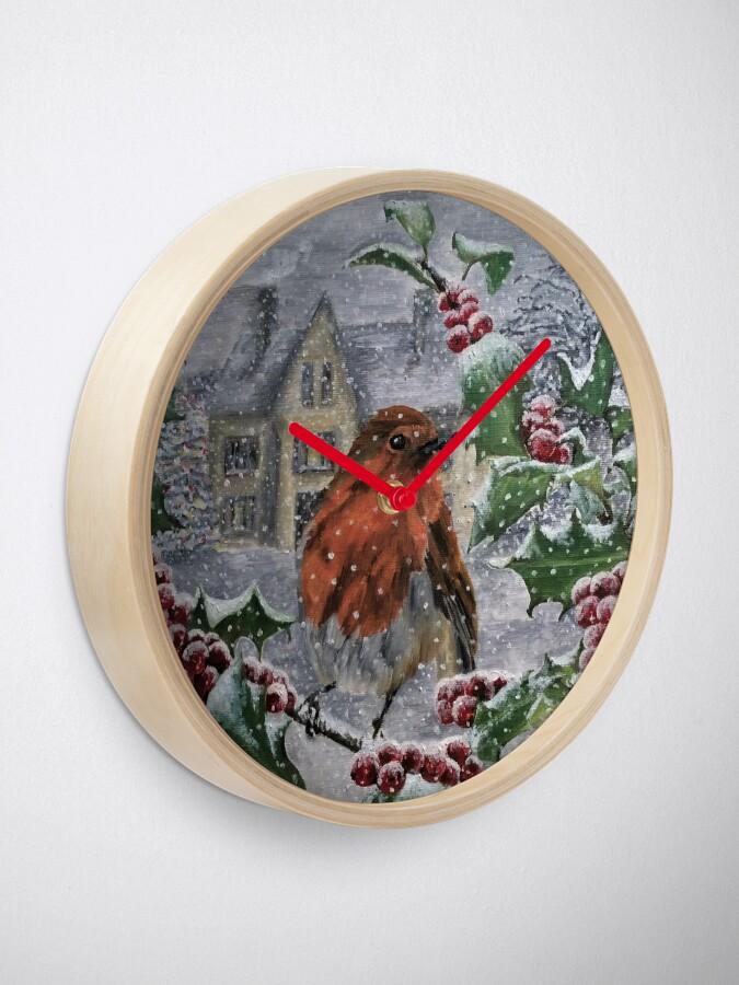 Alternate view of Robin in Snow - Clock Clock