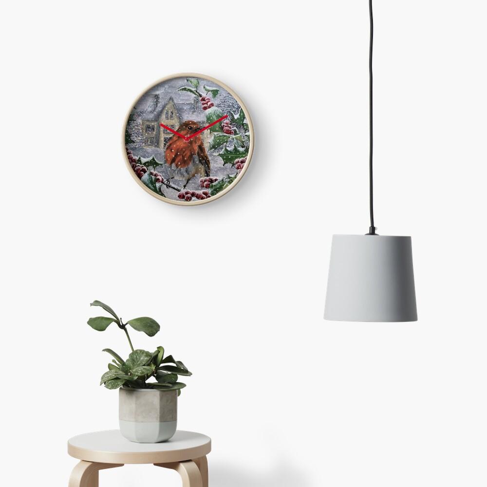 Robin in Snow - Clock Clock