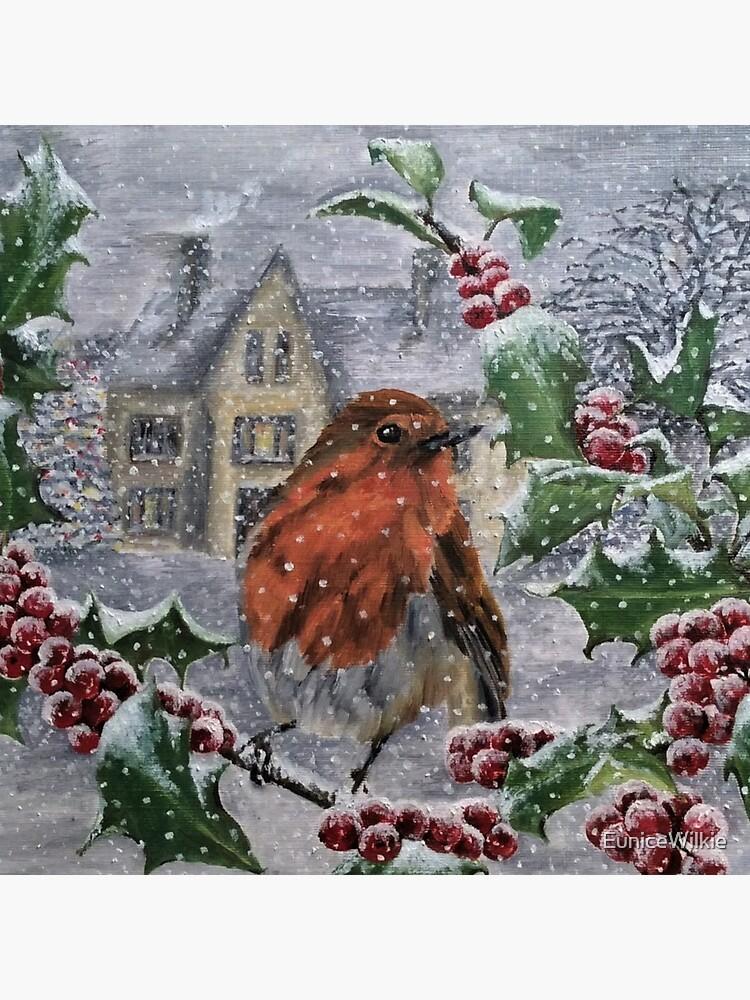 Robin in Snow - Clock by EuniceWilkie
