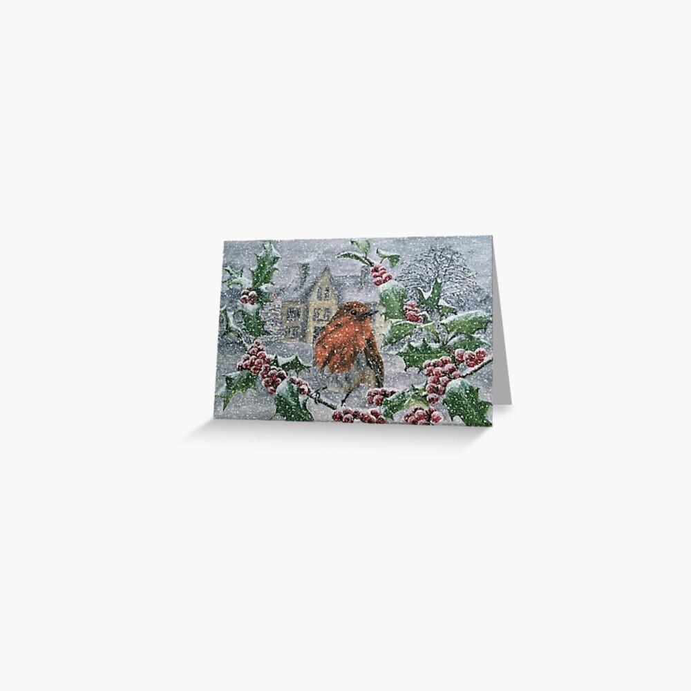 Very Snowy Robin Postcard Greeting Card