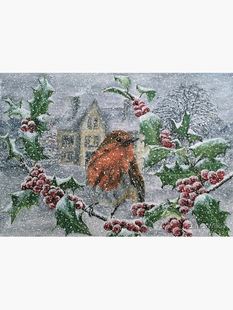 Robin in Heavy Snow - Wall Art by EuniceWilkie