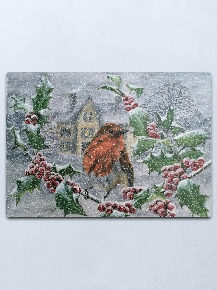 Alternate view of Robin in Heavy Snow - Wall Art Metal Print