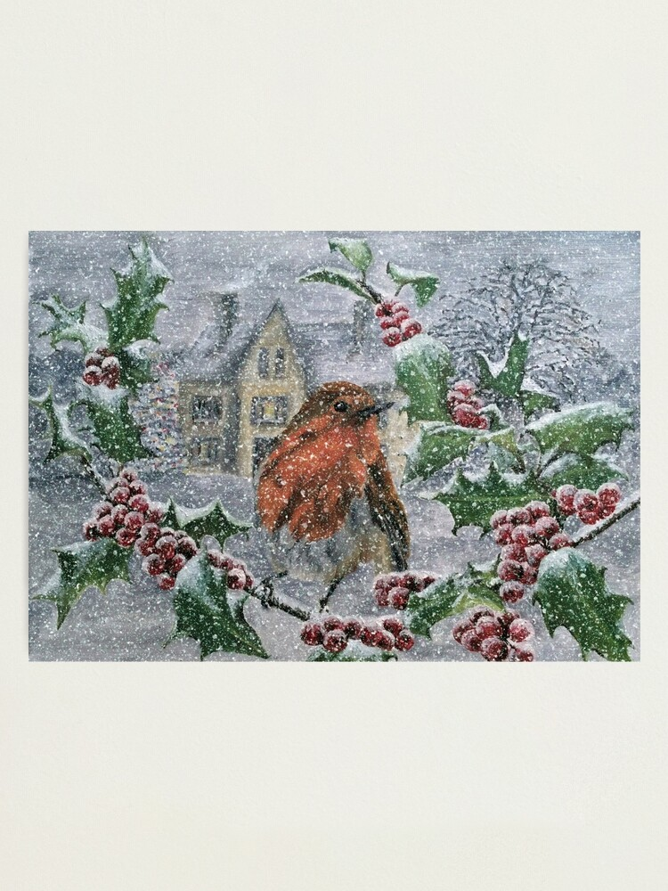 Alternate view of Robin in Heavy Snow - Wall Art Photographic Print
