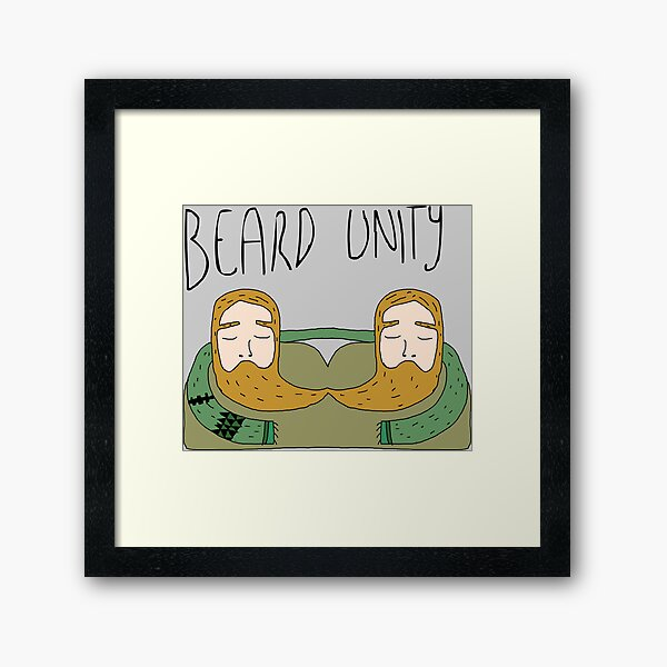 Bearded men unity Framed Art Print