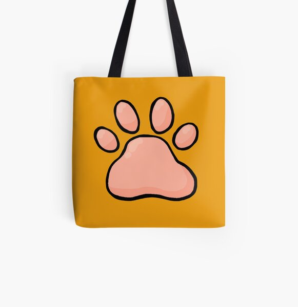 Cartoony Cat's Paw All Over Print Tote Bag