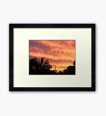 Orange Sunset In Suburbia Framed Print
