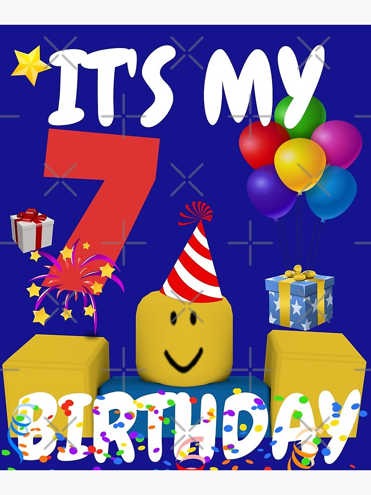 Noob Head Old Smile Roblox Roblox Noob Birthday Boy It S My 7th Birthday Fun 7 Years Old Gift T Shirt Greeting Card By Smoothnoob Redbubble