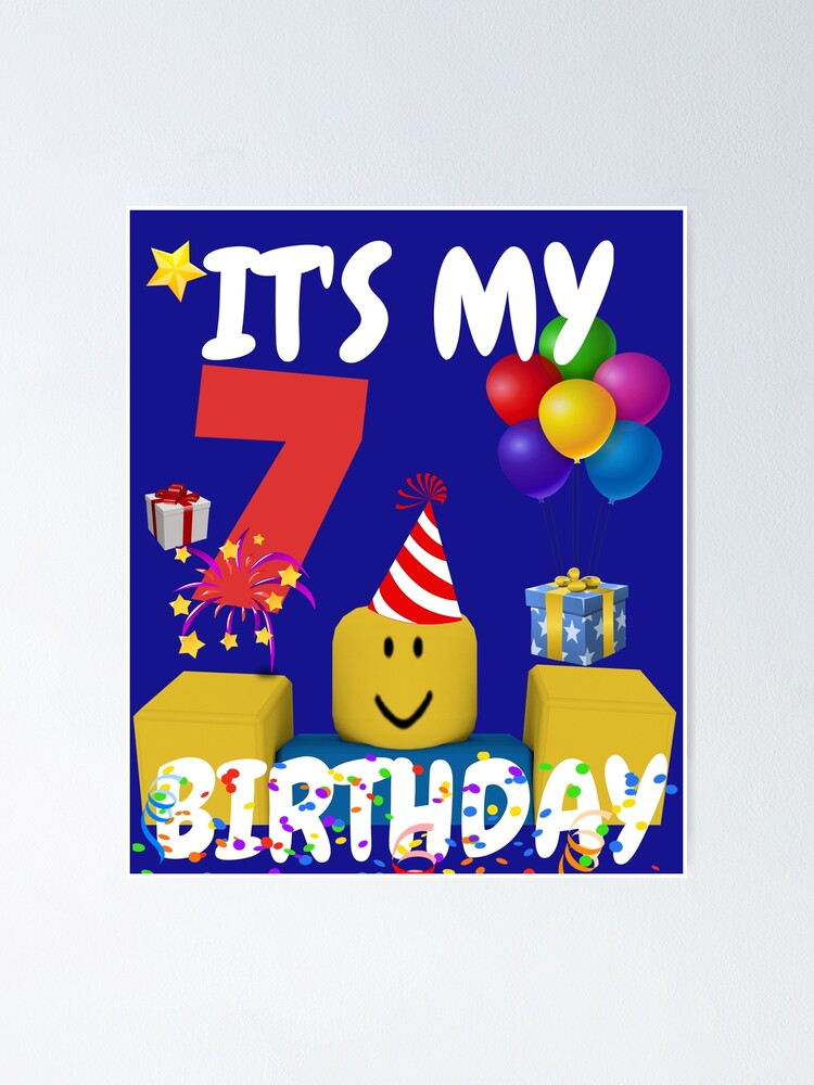 Roblox Noob Birthday Boy It S My 7th Birthday Fun 7 Years Old Gift