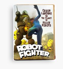 Robot Fighter Fake Pulp Cover 2 Metal Print