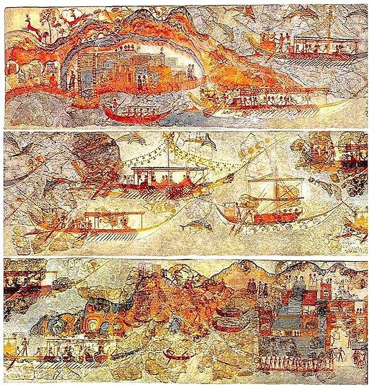 Minoan Miniature Frieze Admirals Flotilla Fresco Art by W. Sheppard Baird