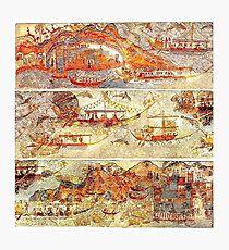 Minoan Miniature Frieze Admirals Flotilla Fresco Art Photographic Print