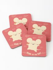 Happy Lunar New Year of the Rat Coasters
