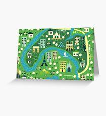 seamless map of paris Greeting Card