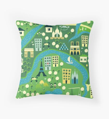 seamless map of paris Throw Pillow