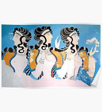 "Minoan ""Ladies in Blue"" Women Fresco Art Poster"
