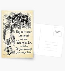 Alice in Wonderland Quote - How Do You Know I'm Mad - Cheshire Cat Quote - 0173 Postcards