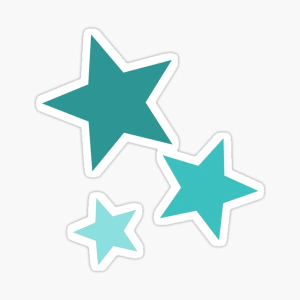 teal star set Sticker