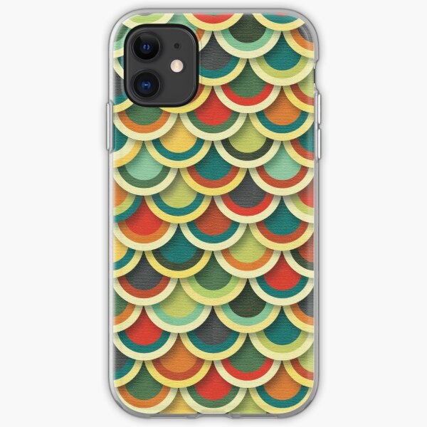Retro Vintage Japanese Fish Scales - 3D Effect iPhone Soft Case