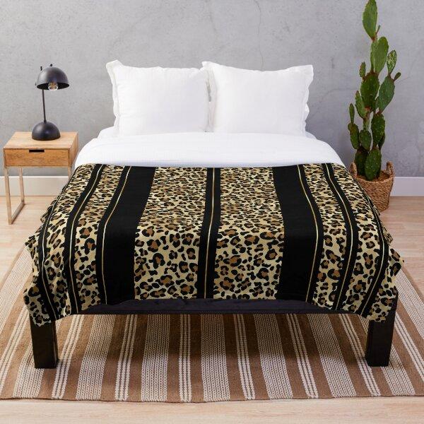 Wildly Wonderful Leopard Stripes Animal Print with Pretty Simple Gold Stripe Throw Blanket