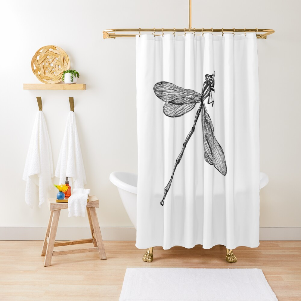 Eve the Dragonfly on the way up Shower Curtain