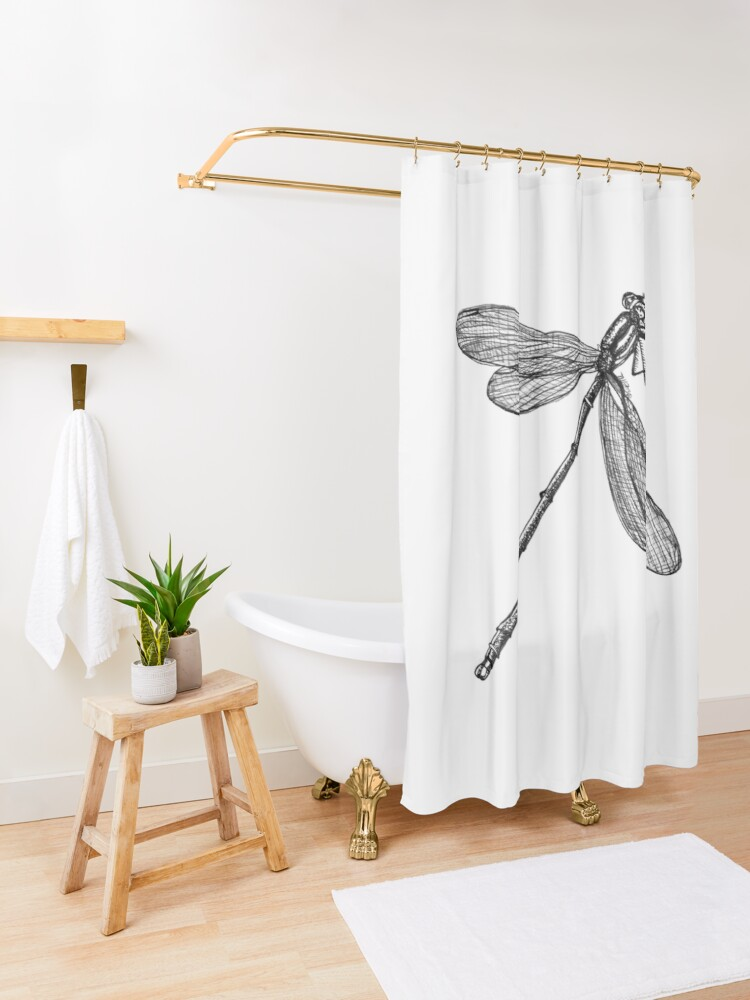 Alternate view of Eve the Dragonfly on the way up Shower Curtain