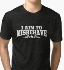 I Aim to Misbehave (White) Tri-blend T-Shirt