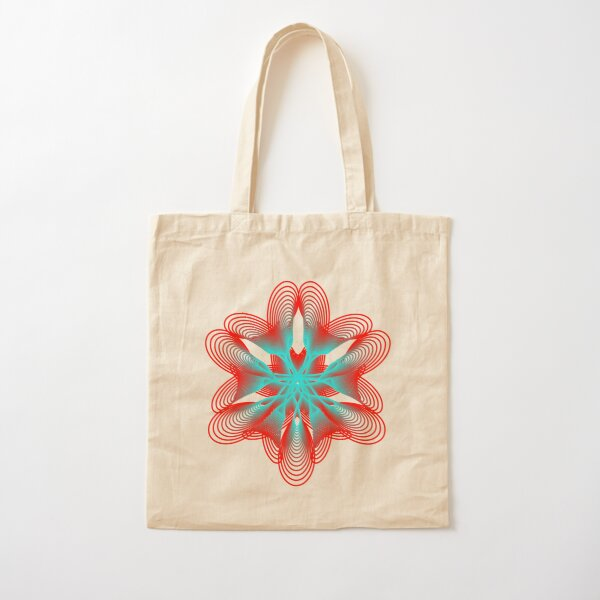 Spirograph with Red and Blue Cotton Tote Bag
