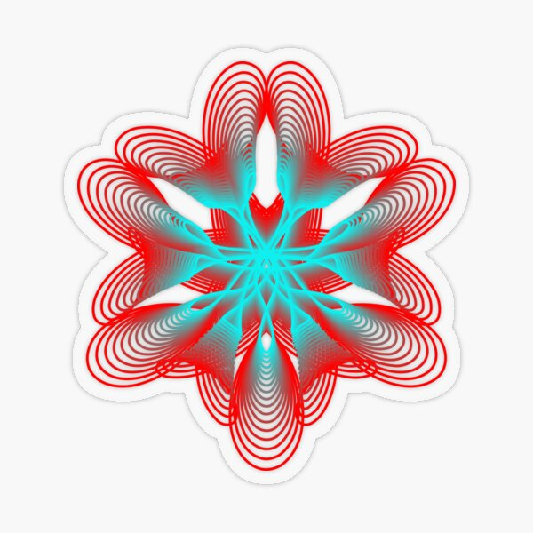 Spirograph with Red and Blue Transparent Sticker