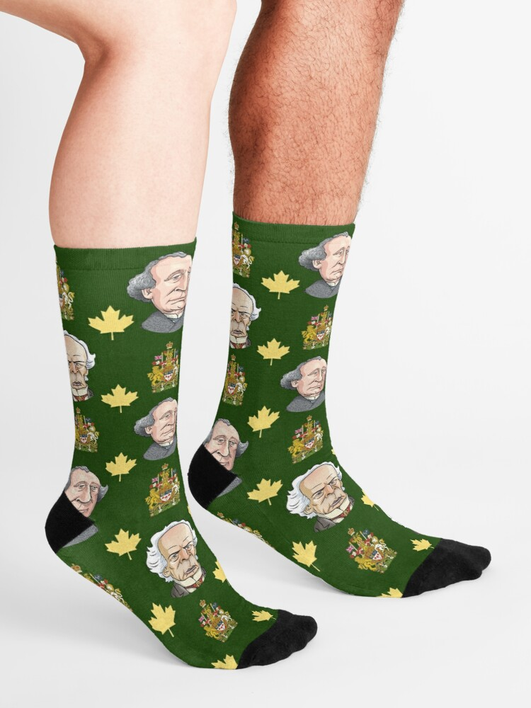 Alternate view of Prime Ministers John A MacDonald & Wilfrid Laurier Socks