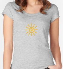 3D Yellow Sun Drawing Women's Fitted Scoop T-Shirt