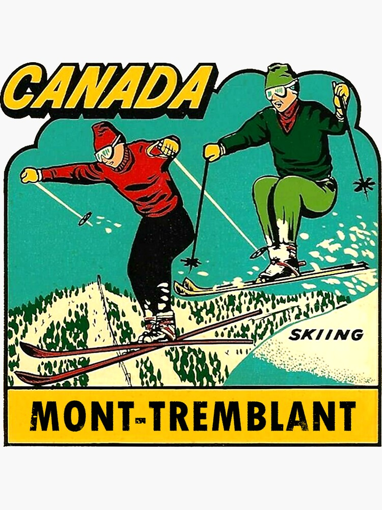 Mont-Tremblant Quebec Skiing Vintage Travel Decal by hilda74
